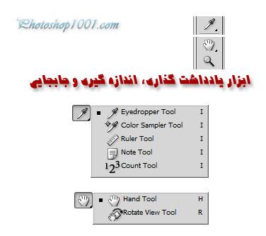 ابزار های یادداشت گذاری، اندازه گیری و جابجایی در فتوشاپ