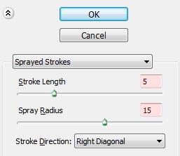 تنظیمات فیلتر Sprayed strokes در فتوشاپ